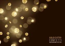 Confeti grande del brillo del oro Fotos de archivo libres de regalías