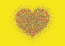 Confeti multicolor del arco iris en la forma de un corazón Vector Imágenes de archivo libres de regalías