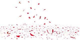 Confeti rojo brillante del brillo que cae, celebración de las estrellas, serpentina Vuelo colorido del confeti en el piso Año Nue stock de ilustración