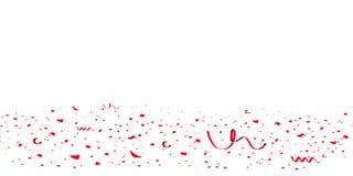Confeti rojo brillante del brillo que cae, celebración de las estrellas, serpentina Vuelo colorido del confeti en el piso Aislado stock de ilustración