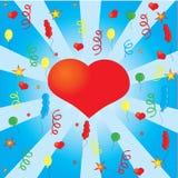 Confeti y el corazón rojo Fotografía de archivo libre de regalías