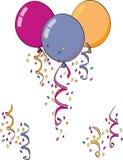 Confeti y globos Imágenes de archivo libres de regalías