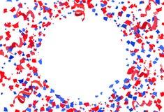 Confetti, бумага и ленты разбрасывают партию торжества взрыва на белой абстрактной иллюстрации вектора предпосылки, красный и гол бесплатная иллюстрация