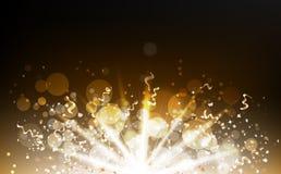 Confetti взрыва разбрасывает со световым лучем, частицами золота, лентами, пылью, накаляя запачканной пылью, моргать яркого блеск иллюстрация вектора
