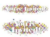 Confetti звезд знамени приглашения красочный Стоковые Изображения