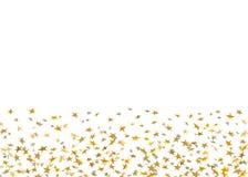 Confetti звезд золота падая на белой предпосылке Партия золотого дизайна праздничная, торжество дня рождения, масленица иллюстрация штока