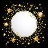 Confetti золота на черной предпосылке Падающие звезды, яркий блеск, dus стоковая фотография
