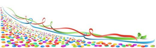 Confetti и изолированное лентами знамя вектора иллюстрация штока