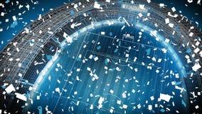 Confetti падая в пустой стадион видеоматериал