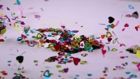 Confetti сердца дует прочь акции видеоматериалы