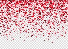 Confetti сердца летания на прозрачной предпосылке Стоковая Фотография