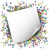 Confetti с бумажной предпосылкой вектора примечания иллюстрация штока
