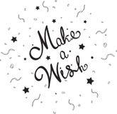 Сделайте желание помечая буквами с confetti Стоковое Изображение RF