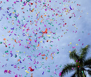 Confetti. On the air against blue sky Stock Photo