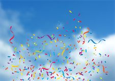 Free Confetti And Streamers On Blue Sky Background Royalty Free Stock Images - 149948719