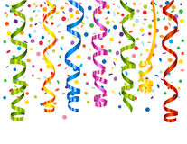 Confetti background with serpentine Royalty Free Stock Photography