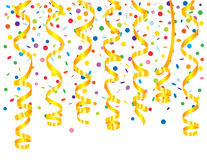 Confetti background with serpentine Stock Photography