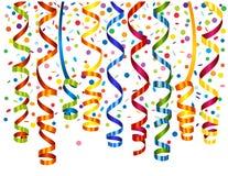 Confetti background with serpentine Stock Photo