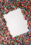 Confetti background with white square Royalty Free Stock Image