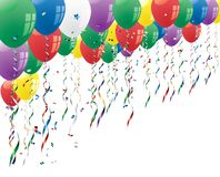 Confetti and balloons. Party background with confetti and balloons Stock Image