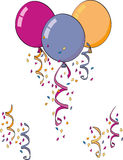 Confetti and Balloons. Party Favors, balloons, birthdays, confetti Royalty Free Stock Images
