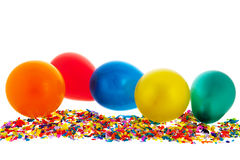Confetti and balloons Royalty Free Stock Photos