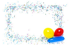 Confetti and balloons frame. Decorative frame from confetti and balloons on white background Stock Photo