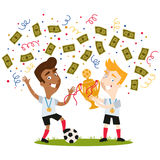 Confetti and banknotes showering victorious cartoon football players celebrating and holding trophy Stock Photos