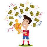 Confetti and banknotes showering victorious cartoon footballer celebrating and holding football trophy Royalty Free Stock Photos