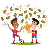 Confetti and banknotes showering victorious cartoon soccer players holding trophy Stock Images