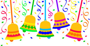 Confetti Bells Fiesta Celebration/eps. Brightly colored illustration of confetti and ringing bells...possible Christmas, New Year, birthday party, cinco de mayo Stock Images