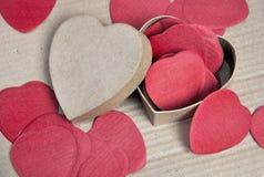 Confetti and box heart shape Royalty Free Stock Image