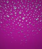 Confetti of Brilliants. Falling Confetti of Perfect Brilliants. The Three-dimensional Brightly Lit Brilliants on a Purple background. Diamonds. Digitally Stock Image