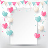 Confetti with buntings ribbons and balloons. Colorful explode confetti with buntings, ribbons and love heart shape balloons on white paper background. Confetti Royalty Free Stock Photo