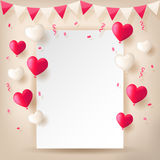 Confetti with buntings ribbons and balloons. Colorful explode confetti with buntings, ribbons and love heart shape balloons on white paper background. Confetti Royalty Free Stock Images