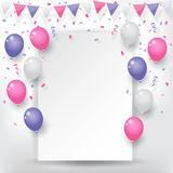 Confetti with buntings ribbons and balloons. Colorful explode confetti with buntings, ribbons and balloons on white paper background. Confetti for valentines Stock Photography