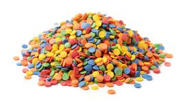 Confetti candy sprinkles. Pile of round confetti candy sprinkles isolated on white Royalty Free Stock Photography