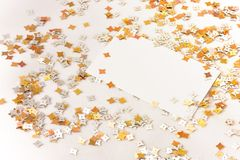 Confetti and card Royalty Free Stock Photo