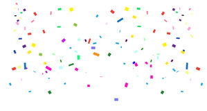 Confetti. Carnival falling bright confetti on white background for Birthday, Holiday, Carnival, Halloween, Festival, Christmas Masquerade invitation background Stock Photography