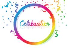 Confetti celebration calligraphy hand writing, colorful ribbons and paper scatter falling with circular ring spectrum rainbow,. Frame festival party concept on royalty free illustration