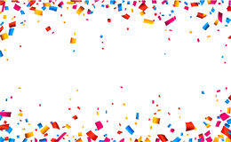 Confetti celebration frame background. Colorful celebration frame background with confetti. Vector background Stock Photos