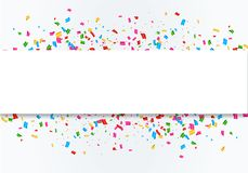 Confetti celebration frame background. Colorful celebration frame background with confetti. Vector Stock Photos