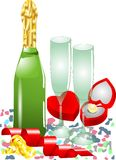 Confetti, champagne, hearts, ribbons Stock Photography