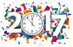 2017 Confetti Clock. Confetti with text 2017 und white clock stock illustration