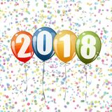 New Year 2018 balloons. Confetti and colored balloons with numbers for New Year 2018 stock illustration