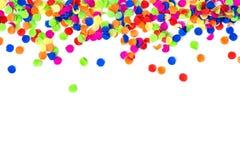 Confetti colorful carnival decoration white background. Confetti colorful carnival decoration on white background stock photo