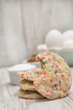 Confetti Cookie With Bite Taken and Eggs Royalty Free Stock Images