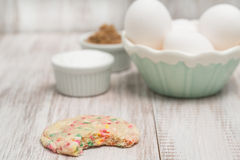 Confetti Cookie Bitten and Eggs and Sugars Stock Images
