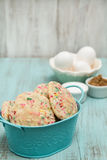 Confetti Cookies in Blue Bucket With Eggs and Sugars Stock Image