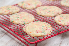 Confetti Cookies on Cooling Rack Close Up Stock Photos